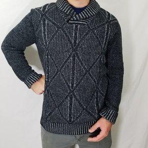Mens Method Shawl-Collar Sweater Black & Gray